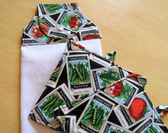 Pot Holders And Hanging Towel Set - Country Farm Kitchen Set - Towel Set