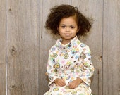 Organic Girls Dress- Spring Dress, Cowl Neck Toddler Dress with Flowers - Kids Fashion from 12 months to 5T