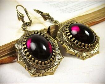 Red Renaissance Earrings, Garnet, Medieval Jewelry, SCA Garb, Tudor Costume, Gothic Victorian, Antique Look, Borgias, Bridesmaid, Bridal