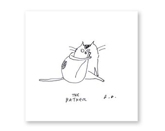 The Bather - Cat Print - Bathroom Art