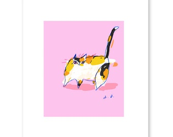 Colette - Calico Cat Print - Cat Art