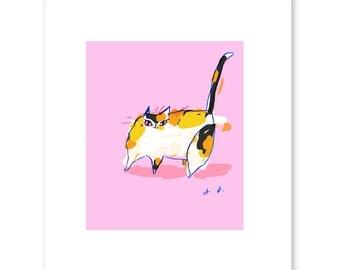 Colette - Calico Cat Print - Cat Art