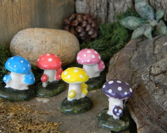 Tiny Mushrooms  - Ceramic Miniature  Mushroom cluster  choose a colorful   Ceramic  glazed statue terrarium decor