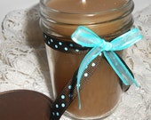 Primitive Candle, Brown, Jelly Jar, Vanilla, Maple, Canning Jar, Country Decor, Polka Dots, Brown, Turquoise, Primitive Decor