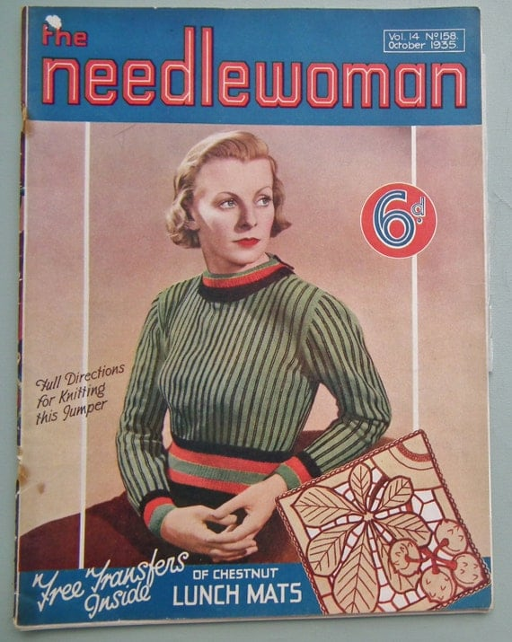 Vintage 1930s Needlework Magazine - The Needlewoman 1935 No. 158 UK - vintage sewing book - embroidery crochet 30s knitting pattern