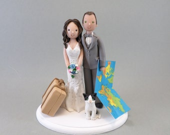 Bride & Groom with a Cat Customized Travel Theme Wedding Cake Topper