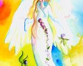 Angel watercolor hand painted greeting card blank inside by Vermont Artist Cathy Stevens Pratt
