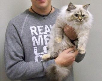 Cat sweatshirt, Real Men Love Cats, mens sweatshirt, funny sweatshirt, cat sweater, cat shirt, cats, animal rescue, RCTees, gift for him