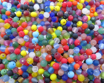 4mm Matte Rainbow Mix Handmade Lampwork Round Glass Beads - 20 Grams (AS9)