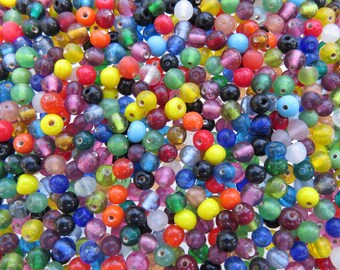 4mm to 5mm Color Mixed Handmade Lampwork Round Glass Beads 20 Grams (AS8)