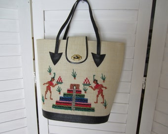 Purse, Handbag with Aztec or Mayan Embroidery in Natural Straw with Black Trim