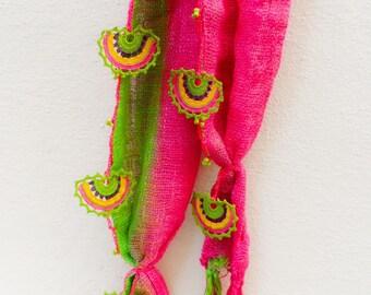 Crochet Scarf , Handmade Pink Crocheted Scarf