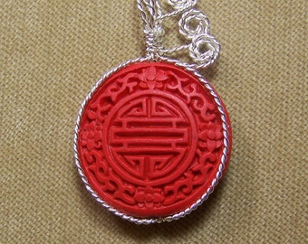 Red CINNABAR LONGETIVY Symbol Sterling Silver Plate Wire Wrap Necklace Pendant SALE
