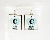 Diamond Earrings Science Chemistry Jewelry - Diamond Carbon Periodic Table - Valentines Gift Idea
