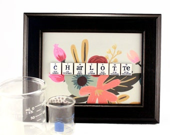 Science Personalized Sign - Chemistry Periodic Table of Elements - Floral Abstract, Handmade, Wall Art