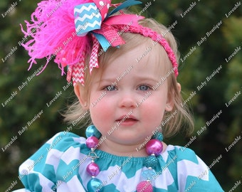 Teal and Pink Chevron and Polkadot Over The Top  Bow on matching Headband Free Shipping On All Addional Items