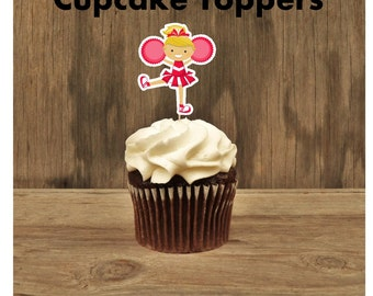 Cheer Party - Set of 12 Cheerleader Cupcake Toppers in Red by The Birthday House