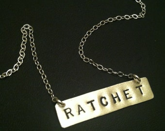 RATCHET, Trap Queen, Basic Bitch, Hot Mess, Ghetto, Bar Necklace, Hoodrat, Trap Music, Rectangle, Statement Necklace, Sterling Silver, Metal