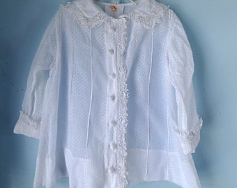 VINTAGE DRESS COAT 1930's Little girls summer coat of dotted Swiss and handmade Irish lace.