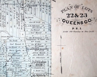 1880 Large Rare Vintage Map of Lots 22 and 23, Queens County, PEI. With Inset of Hunter River - Handcolored