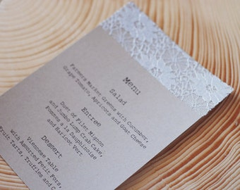 Elegant Handmade Lace Doily Wedding Menus or Programs - Save the Date - Autumn, Fall, Christmas - Engagement Party - Escort Card
