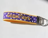 Key Fob - Geaux Tigers LSU Team Embroidery in Purple and White Dots with Gold Webbing