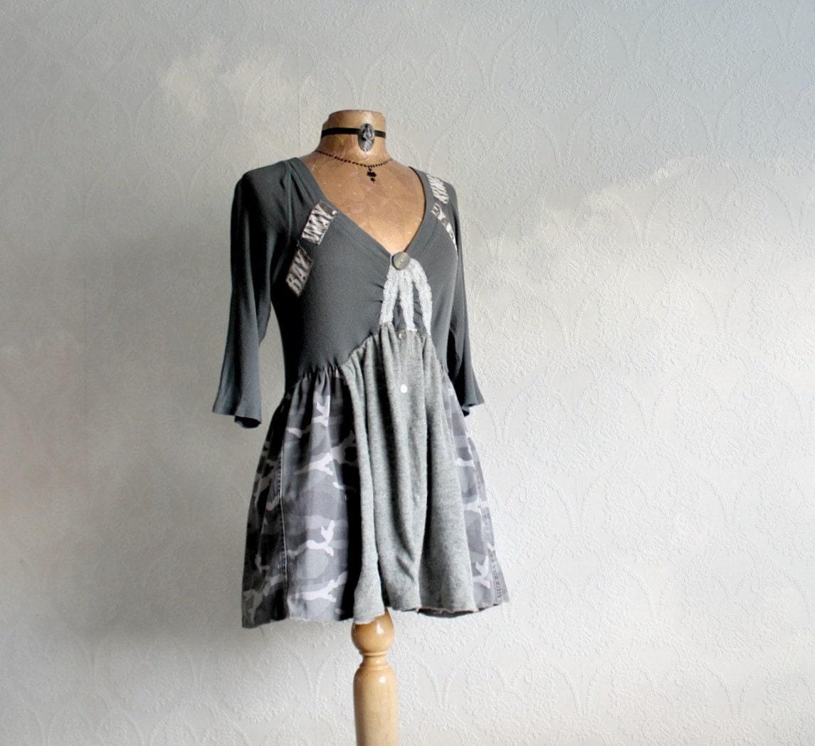 Women's Upcycled Top Grey Tunic Boho Style Clothing Rustic
