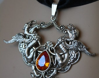 Swarovski Dragon Stone Gothic Victorian Silver Silverplated Necklace - Elegant Ornate Ornament