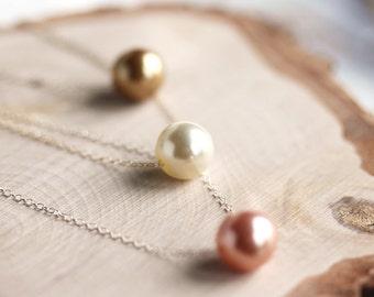 Single Swarovski Floating Pearl Necklace,pearl necklace,Floating pearl necklace,Bridesmaid gift, Simple,everyday jewelry,Bridal,by Maki Y