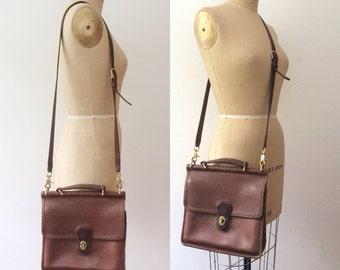 vintage Coach purse / brown leather Coach / Coach Satchel bag