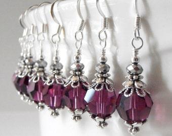 Amethyst Crystal Earrings Swarovski Elements Bridesmaid Jewelry Sets Dangle Earrings Purple and Silver Wedding Jewelry Bridesmaid Earrings