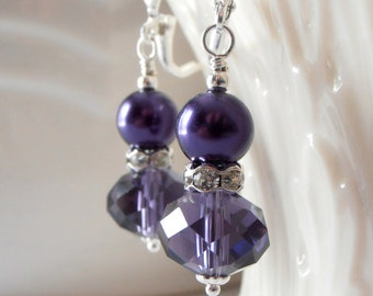 Dark Purple Earrings Lapis Bridesmaid Jewelry Crystal Dangles with Pearls Purple Wedding Sets Beaded Bridesmaid Earrings Indigo