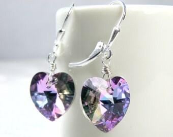 Lavender Heart Earrings, Sterling Silver, Violet Purple Swarovski Crystal, Dangle, Amethyst Jewelry February Birthday Ready to Ship Handmade