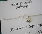 Best Friend Infinity Bracelet, Sterling Silver Infinity Jewelry, Friendship Gift, Friendship Card, White Pearl, Sterling Silver Bracelet
