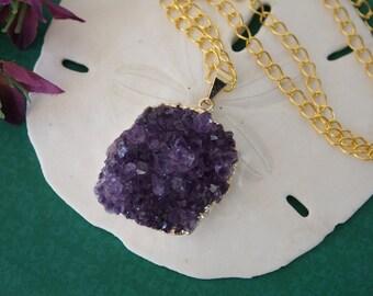 Amethyst Cluster Necklace Gold, Amethyst Pendant, Amethyst Geode, Raw, AP1