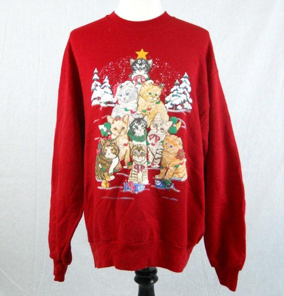 Christmas Tree Sweater Womens: Kitty Cat Tree Ugly Christmas Sweatshirt Women's Extra