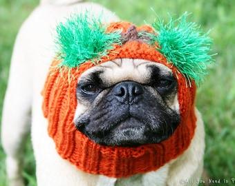 Snuggly Pugkin Head Dog Hat - Pug Hat - Dog Hats - Pug Hats - Dog Costume - Pug Costume - Dog Halloween Costum