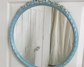 Distressed Aqua Painted Round Framed Vintage Mirror - MR701 Shabby Farmhouse Style