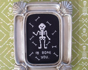 I'd Bone You Skeleton Completed Cross Stitch - Small Ornate Frame