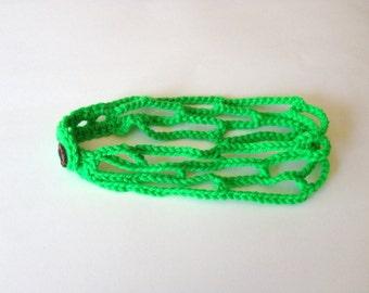 Neon Green Crochet Headband Adjustable Head Band Trellis Hairband, MADE TO ORDER
