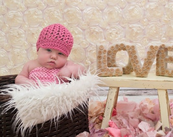 Hats for Newborn Girl, Crochet Baby Hats, Baby Newsboy Hat, Baby Girl Hat, Pink Baby Hat, MADE TO ORDER