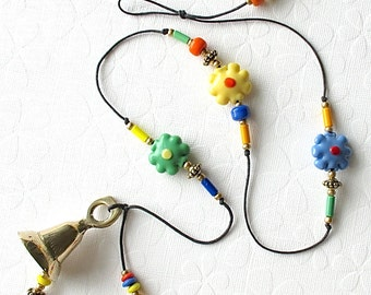 Beaded Garden Chime. Windchime. Lampwork Daisy Beads. Flowers. Blue. Yellow. Green. Orange. Flower Power. Retro. Daisies. Funky. Brass Bell