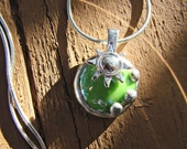 Sun Crystal - Green Glass Pendant it comes with your choice of chain