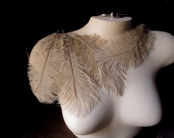 "3 Champagne Beige Ostrich Drabs  5"" - 8"" Feathers for Bridal, Headbands, Flapper, Masks, Tribal Fusion, Costume Design"