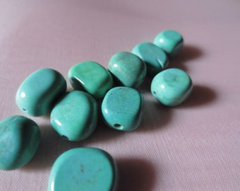 10 Turquoise Stone Nugget Beads 10mm - 12mm for Jewelry