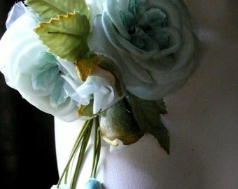 Aqua Jade Silk Roses with Hanging Blossoms for Bridal, Sashes, Millinery, Garments