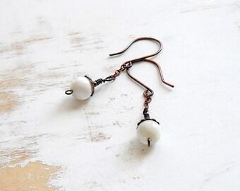 Mother of Pearl Earrings, Simple Jewellery, Chain Drop Earrings, Handmade Copper Jewellery, White Earrings, Everyday Earrings