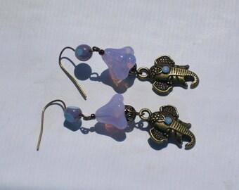Elephant Lavender Blue Elephant Earrings Bollywood Inspired Earring