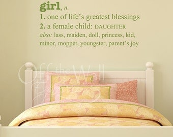 Girl Definition Vinyl Decal, nursery wall lettering, decal for girls room, girl decor, family decals, blessing decal