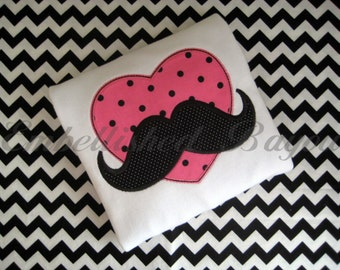 Valentine's Mustache Appliqued Heart T-shirt for Boys or Girls